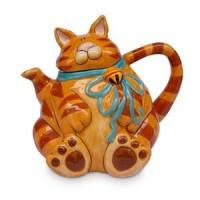 Orange Cat Tea Pot