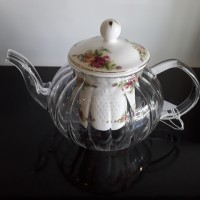 English Rose Glass Tea Pot