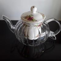 English Rose Glass Tea Pot