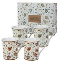 Queens Indian Silk Set of 4 Mugs