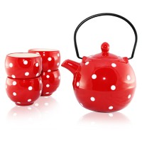 Polka Dots Red Tea Set