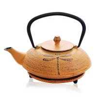 Dragonfly Yellow Cast Iron Teapot