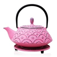 Pink Fan Cast Iron Teapot