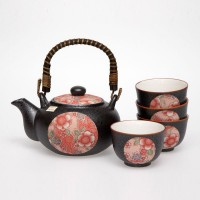 Beni Red Tenmoku Tea Set