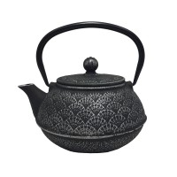 Teaology Cast Iron Oriental Fan Black & Silver