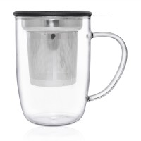 Glass Infuser Mug ( Black )